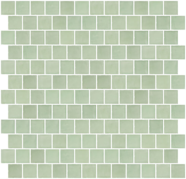 1 Inch Matte Green Glass Tile Reset In Offset Layout