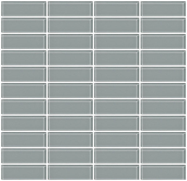 1x3 Inch Gray Glass Subway Tile Stacked