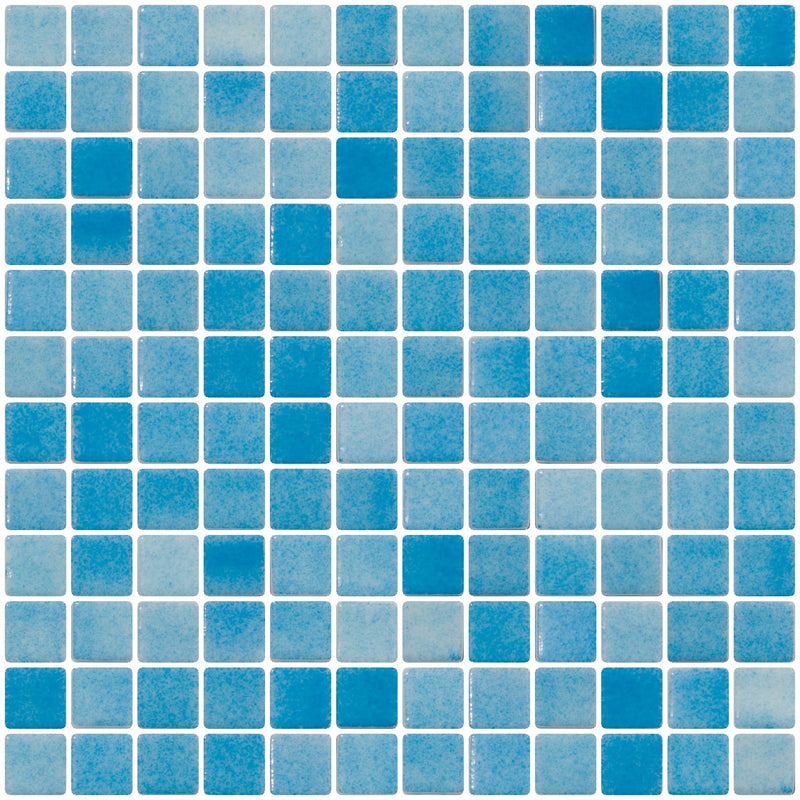 1 Inch Turquoise Blue Dapple on White Recycled Glass Tile