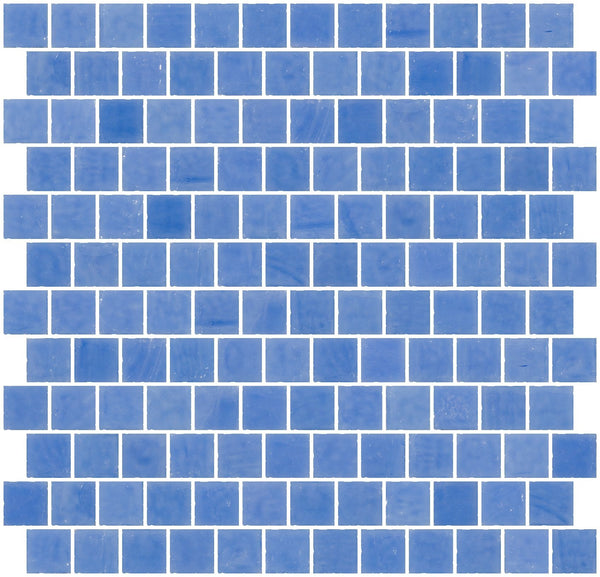 1 Inch Opaque Medium Blue Glass Tile Reset In Offset Layout