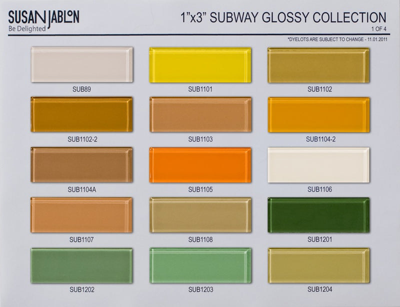 1x3 Inch Bijou Glossy Subway Sample Board Set