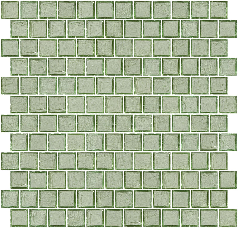 1 Inch Transparent Green Glass Tile Reset In Offset Layout