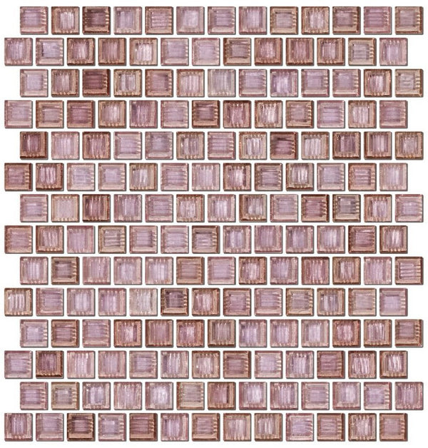 3/4 Inch Transparent Pale Lavender Purple Glass Tile Reset In Offset Layout