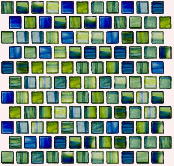 1 Inch Transparent Blue and Green Mix Glass Tile Rest In Offset Layout