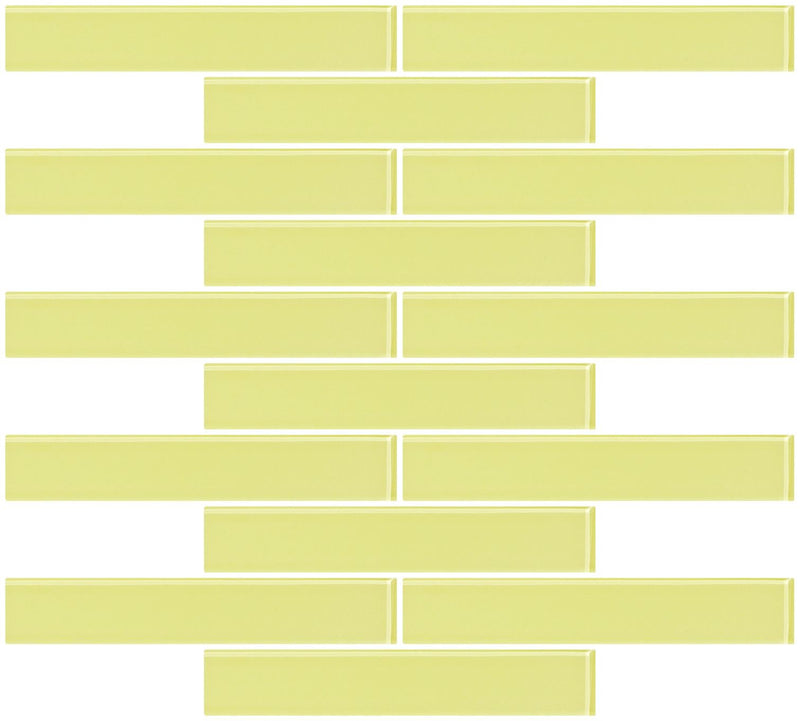1x6 Inch Light Lime Green Glass Subway Tile Reset In Running-brick Layout