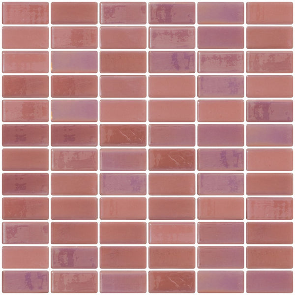 1x2 Inch Pink Iridescent Recycled Subway Glass Tile