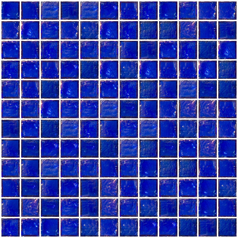 1 Inch Cobalt Blue Iridescent Glass Tile