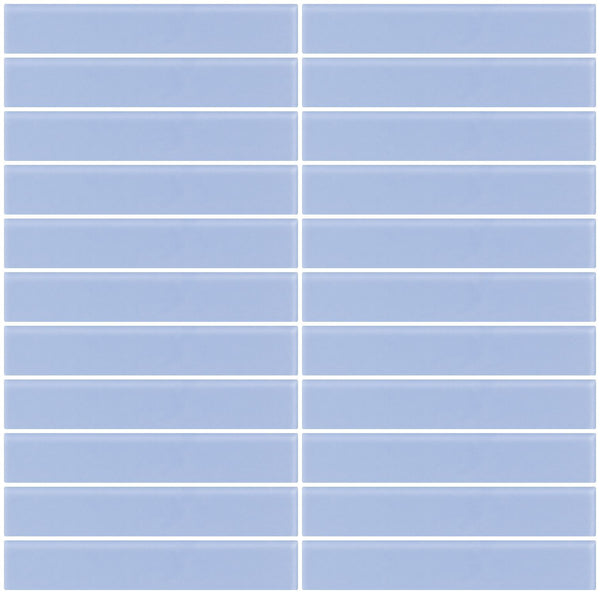 1x6 Inch Light Periwinkle Blue Frosted Glass Subway Tile