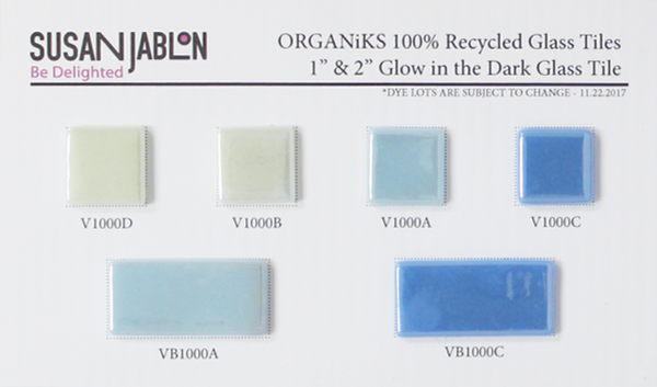 "ORGANIKS 100% Recycled Glass Tiles- 1"" & 2"" Glow in the Dark Glass Tile"