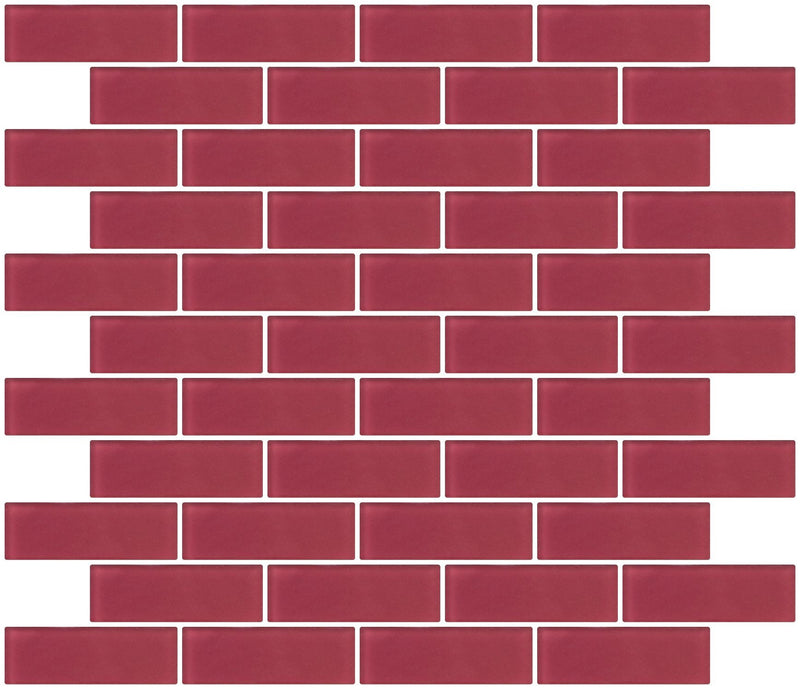 1x3 Inch Burgundy Red Frosted Glass Subway Tile