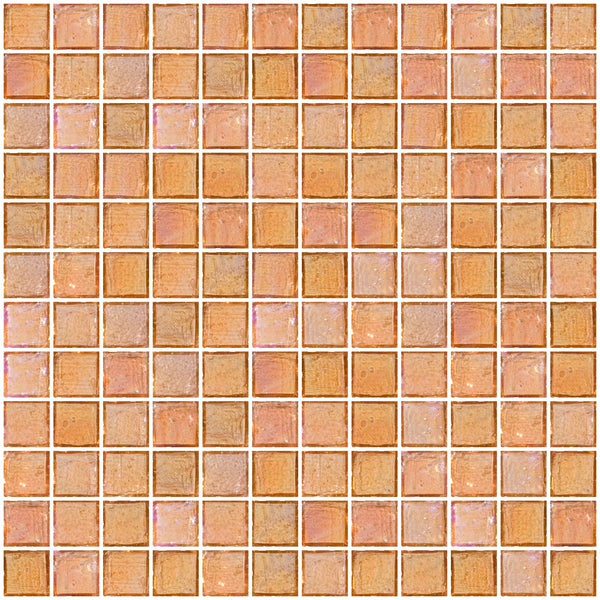 1 Inch Peach Pink Iridescent Glass Tile