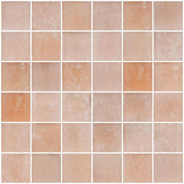 2x2 Inch Matte Peach Pink Glass Tile