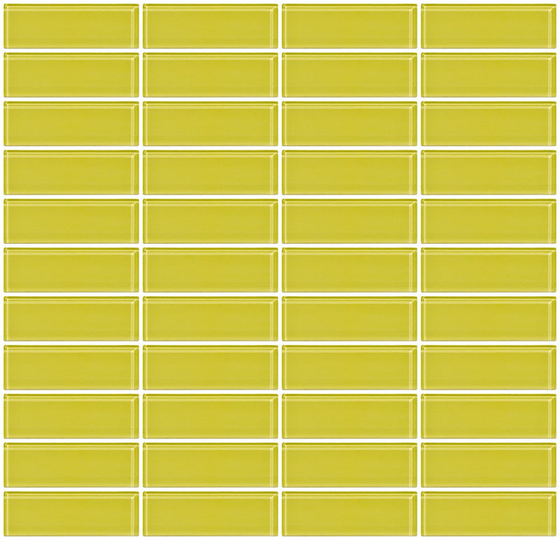 1x3 Inch Light Lime Green Glass Subway Tile Stacked