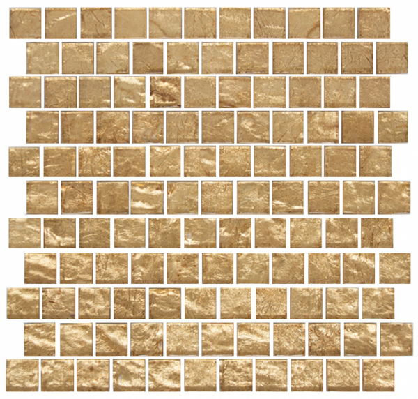 1 Inch Champagne Shimmer Metallic Glass Tile Reset In Offset Layout