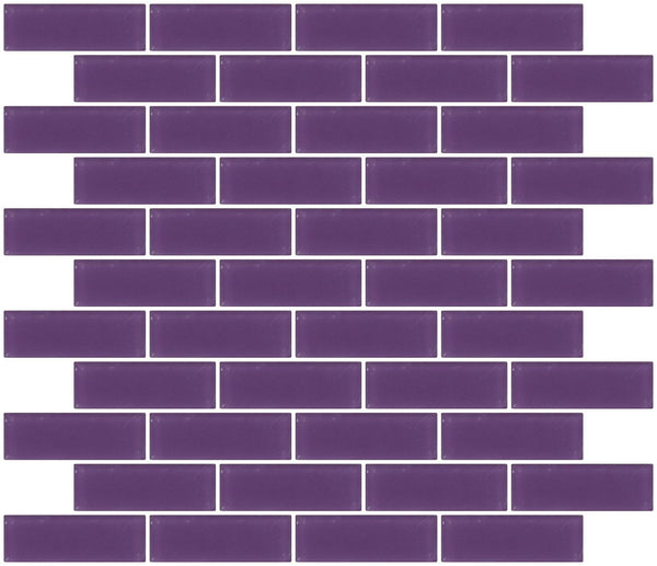 1x3 Inch Lavender Purple Frosted Glass Subway Tile