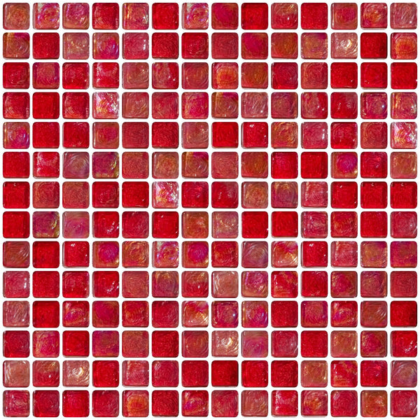 3/4 Inch Red Iridescent Glass Tile