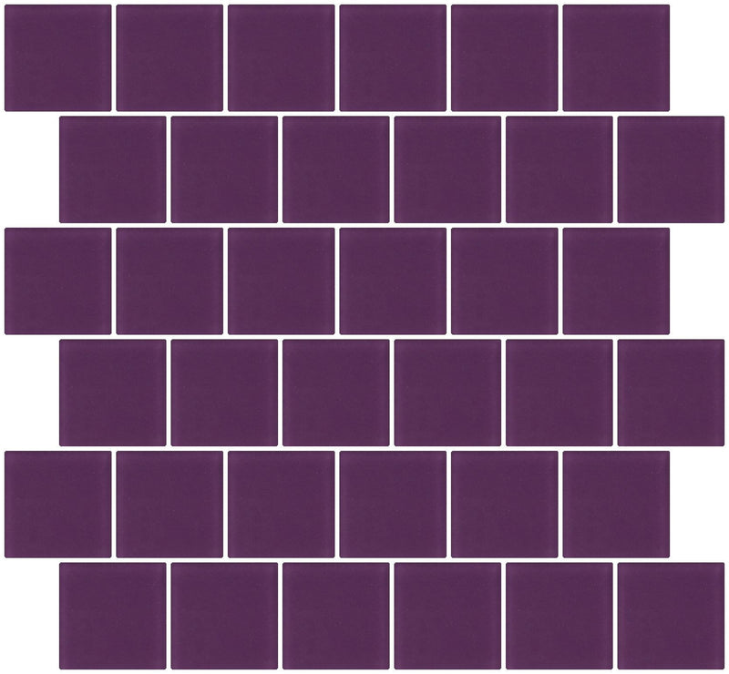 2x2 Inch Lavender Purple Frosted Glass Tile Reset In Offset Layout