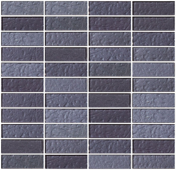 1x3 Inch Violet Blue Slate Metallic Glass Subway Tile Stacked