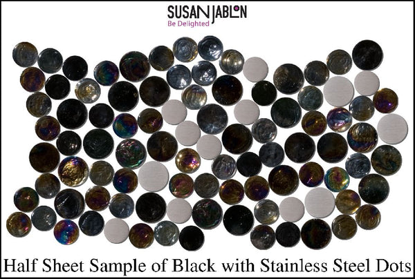 Half Sheet Sample of Black with Stainless Steel Dots