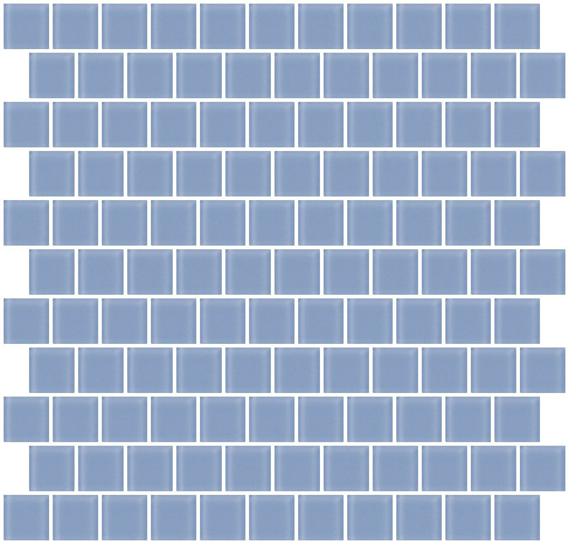 1 Inch Light Periwinkle Blue Frosted Glass Tile Reset In Offset Layout