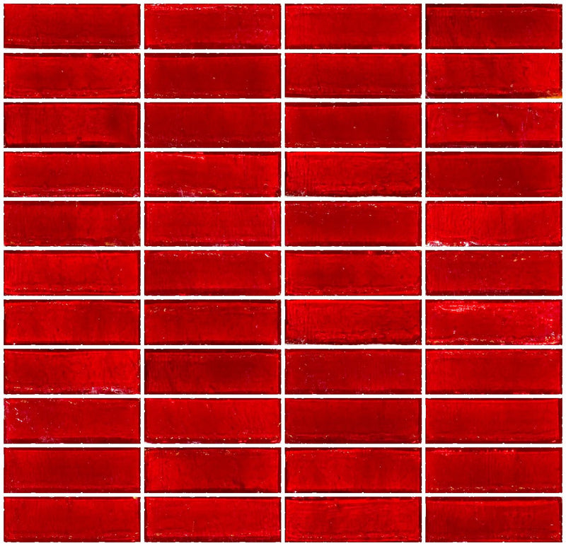 1x3 Inch Red Transparent Glass Subway Tile Stacked