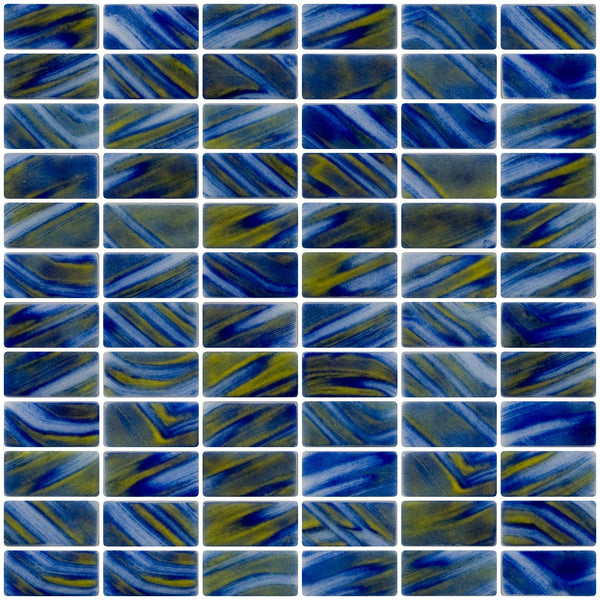 1x2 Inch Cobalt Blue and Spring Green Swirl Recycled Subway Glass Tile
