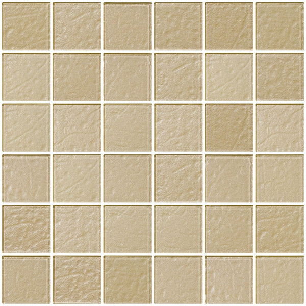 2x2 Inch Soft Gold Metallic Glass Tile