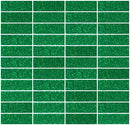 1x3 Inch Emerald Green Glitter Glass Subway Tile Stacked