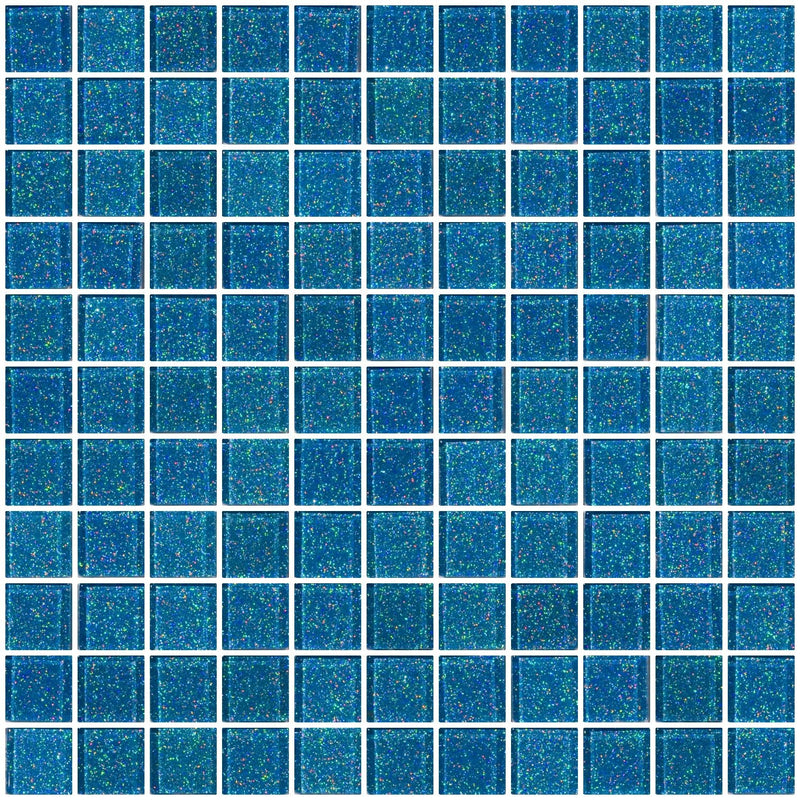 1 Inch Denim Blue Glitter Glass Tile