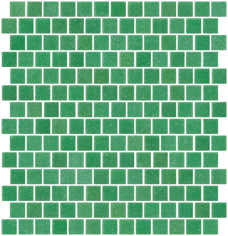 3/4 Inch Light Christmas Tree Green Glass Tile Reset In Offset Layout