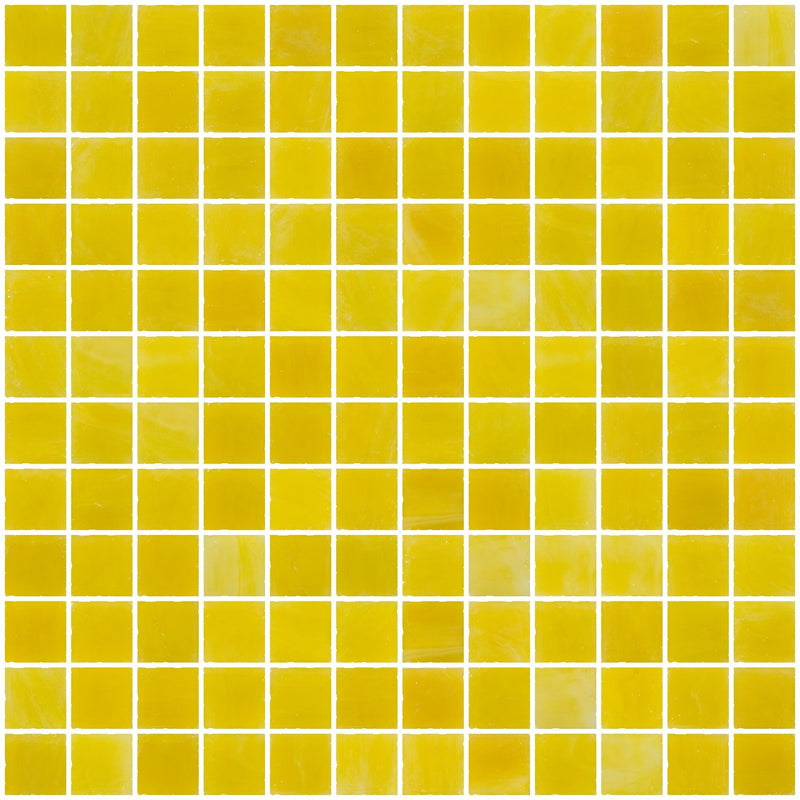 1 Inch Opaque Sunshine Yellow Glass Tile