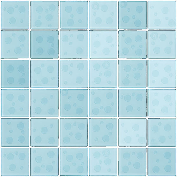 2x2 Inch Cosmos Glass Tile In Robins Egg Blue