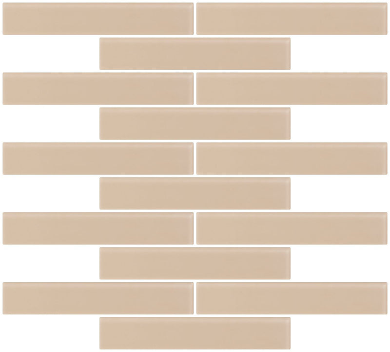 1x6 Inch Wheat Brown Frosted Glass Subway Tile