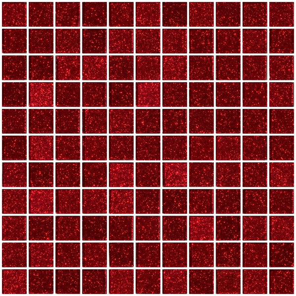 1 Inch Red Glitter Glass Tile