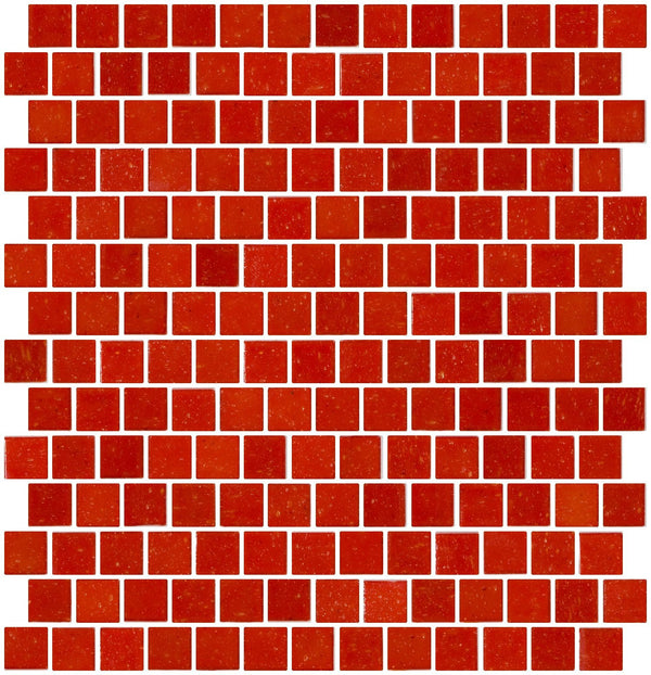 3/4 Inch Red Orange Glass Tile Reset In Offset Layout