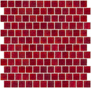 1 Inch Matte Red Glass Tile Reset In Offset Layout