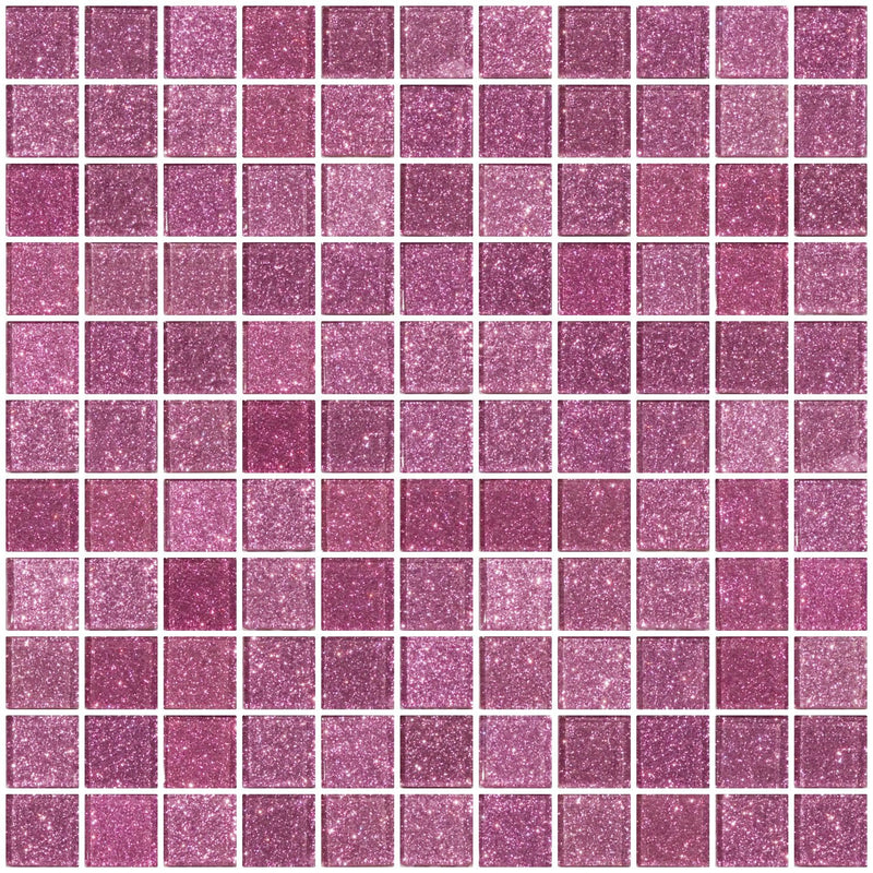 1 Inch Barbie Pink Glitter Glass Tile