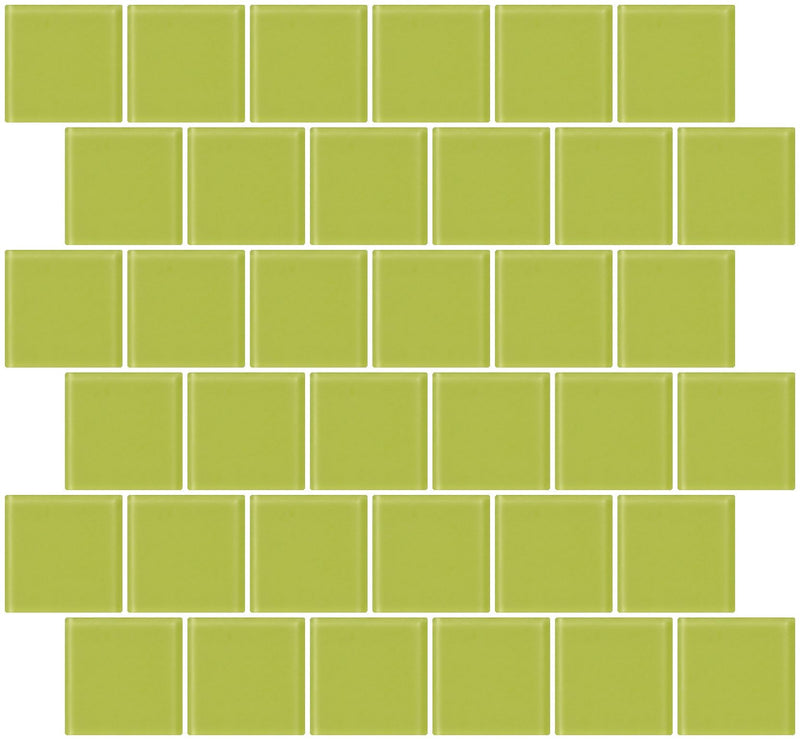 2x2 Inch Lime Green Frosted Glass Tile Reset In Offset Layout