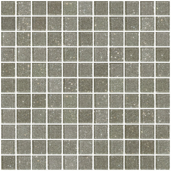 1 Inch Silver Glitter Glass Tile