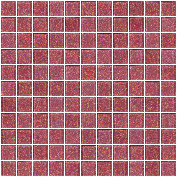 1 Inch Pink Glitter Glass Tile
