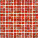 3/4 Inch Red Marbled Glass Tile