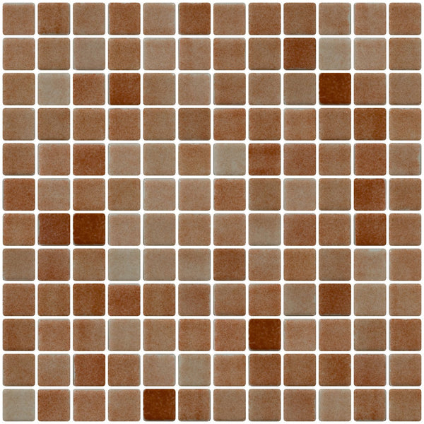 1 Inch Cocoa Brown Dapple on White Recycled Glass Tile