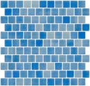 1 Inch Medium Cobalt Blue Recycled Glass Tile Reset In Offset Layout