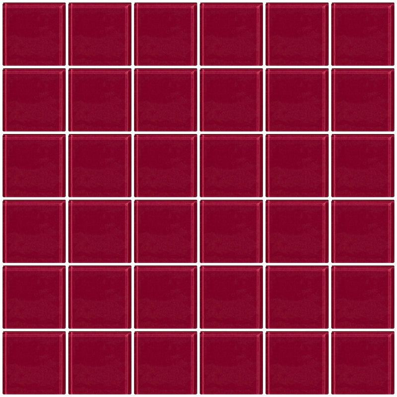 2x2 Inch Burgundy Glass Tile