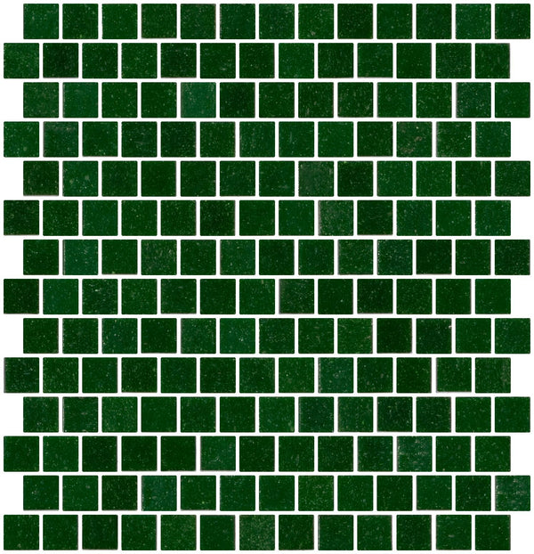 3/4 Inch Forest Green Glass Tile Reset In Offset Layout