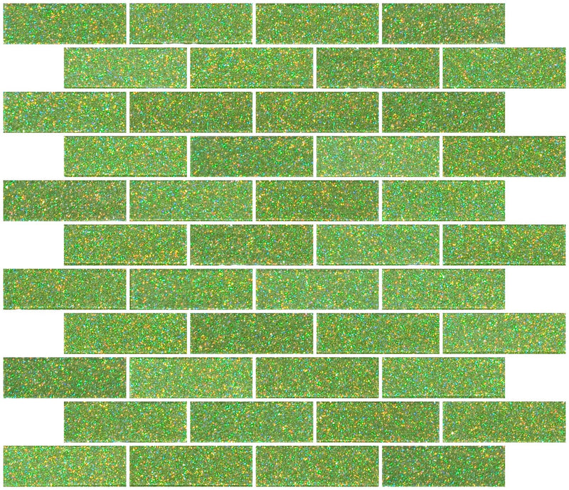 1x3 Inch Lime Green Glitter Glass Subway Tile