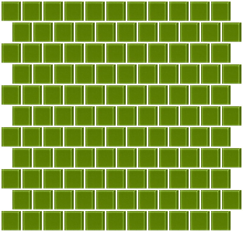 1 Inch Dark Lime Green Glass Tile Reset In Offset Layout