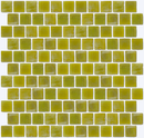 1 Inch Chartreuse Iridescent Glass Tile Reset In Offset Layout