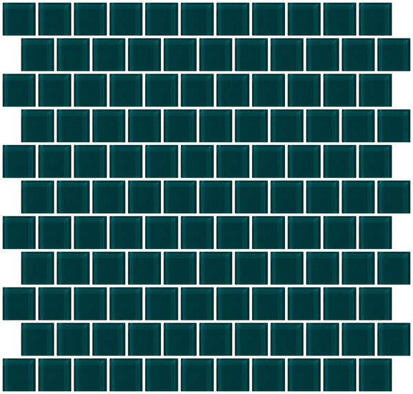 1 Inch Deep Teal Green Glass Tile Reset In Offset Layout