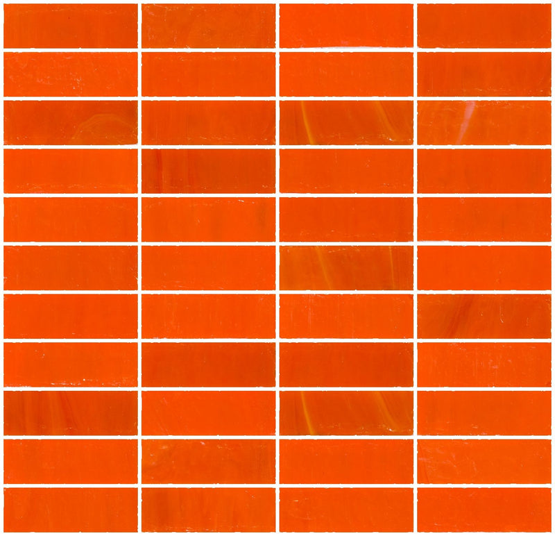 1x3 Inch Opaque Bright Orange Glass Subway Tile Stacked
